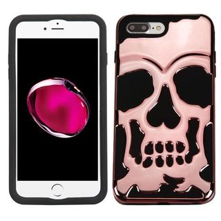Insten Rose Gold/ Black Skullcap Dual Layer Hybrid Rubberized Hard PC/ Silicone Case Cover For Apple iPhone 7 Plus