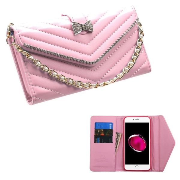 Insten Pink Folio Flip Leather Wallet Flap Pouch Case Cover With Diamond Compatible Apple iPhone 7 Plus