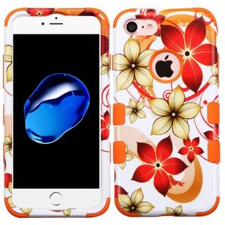 Insten Orange/ White Hibiscus Flower Romance Tuff Hard PC/ Silicone Dual Layer Hybrid Case Cover For Apple iPhone 7