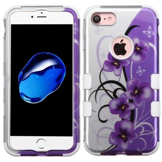 Insten Purple/ White Twilight Petunias Tuff Hard PC/ Silicone Dual Layer Hybrid Rubberized Matte Case Cover For Apple iPhone 7