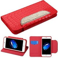 Insten Red Stand Folio Flip Crocodile Skin Leather Wallet Flap Pouch Case Cover With Diamond Compatible Apple iPhone 7