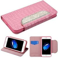 Insten Pink Stand Folio Flip Crocodile Skin Leather Wallet Flap Pouch Case Cover With Diamond Compatible Apple iPhone 7