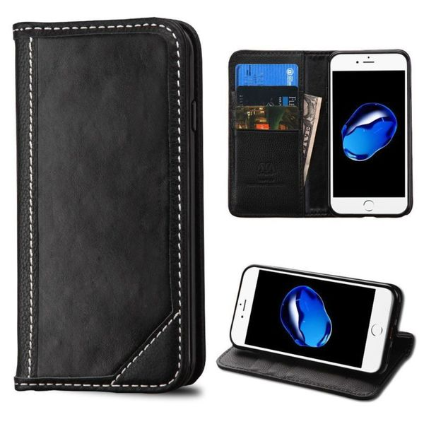 Insten Black Stand Folio Flip Leather Wallet Flap Pouch Case Cover For Apple iPhone 7
