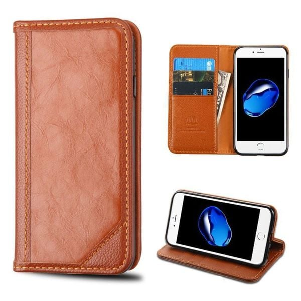 Insten Brown Stand Folio Flip Leather Wallet Flap Pouch Case Cover For Apple iPhone 7