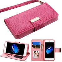 Insten Hot Pink Stand Folio Flip Crocodile Skin Leather Wallet Flap Pouch Case Cover For Apple iPhone 7
