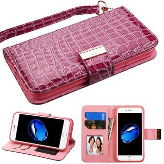 Insten Purple Stand Folio Flip Crocodile Skin Leather Wallet Flap Pouch Case Cover For Apple iPhone 7