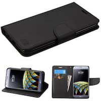 Insten Black/ White Stand Folio Flip Leather Wallet Flap Pouch Case Cover For LG X Cam