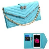Insten Blue Folio Flip Leather Wallet Flap Pouch Case Cover With Diamond Compatible Apple iPhone 7 Plus