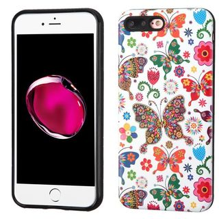 Insten Purple/ White Butterfly Wonderland Hard Snap-on Dual Layer Hybrid Case Cover For Apple iPhone 7 Plus
