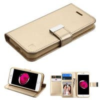 Insten Gold Stand Folio Flip Leather Wallet Flap Pouch Case Cover For Apple iPhone 7 Plus