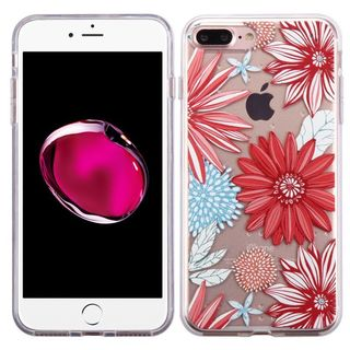 Insten Red/ White Spring Daisies TPU Rubber Candy Skin Case Cover For Apple iPhone 7 Plus