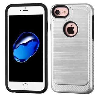 Insten Silver/ Black Hard Snap-on Dual Layer Hybrid Case Cover For Apple iPhone 6/ 6s/ 7