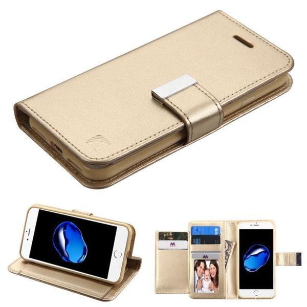 Insten Gold Stand Folio Flip Leather Wallet Flap Pouch Case Cover For Apple iPhone 7
