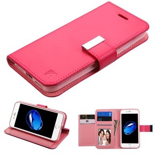 Insten Hot Pink Stand Folio Flip Leather Wallet Flap Pouch Case Cover For Apple iPhone 7