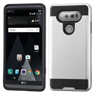 Insten Silver/ Black Hard Snap-on Dual Layer Hybrid Case Cover For LG V20