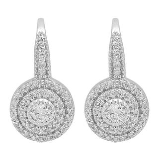 14k White Gold 1/2ct TDW Round-cut White Diamond Halo Style Drop Earrings (I-J, I1-I2)