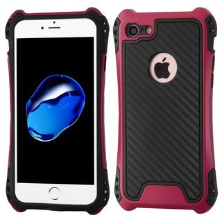 Insten Black/ Hot Pink Dual Layer Hybrid PC/ TPU Rubber Case Cover For Apple iPhone 7