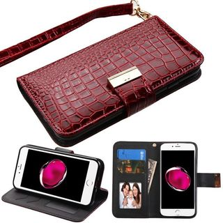 Insten Burgundy Stand Folio Flip Crocodile Skin Leather Wallet Flap Pouch Case Cover For Apple iPhone 7 Plus