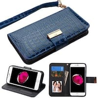 Insten Blue Stand Folio Flip Crocodile Skin Leather Wallet Flap Pouch Case Cover For Apple iPhone 7 Plus