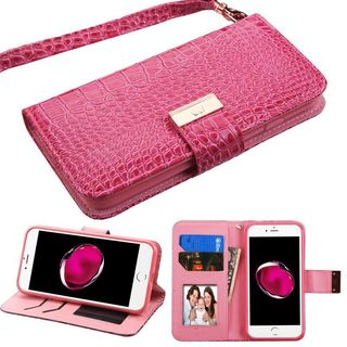 Insten Hot Pink Stand Folio Flip Crocodile Skin Leather Wallet Flap Pouch Case Cover For Apple iPhone 7 Plus