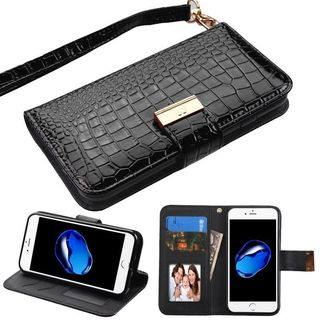 Insten Black Stand Folio Flip Crocodile Skin Leather Wallet Flap Pouch Case Cover For Apple iPhone 7