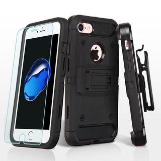 Insten Black Dual Layer Hybrid PC/ TPU Rubber Holster Case Cover w/ Screen Protector For Apple iPhone 7