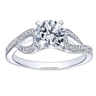 14k Gold 3/4ct TDW White Diamond Free Form Style Diamond Engagement Ring
