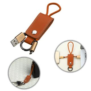 Insten Orange 9-inch Portable Leather Micro USB Data Sync Charging Cable With Key Chain