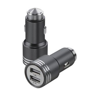 Insten Black 2.1A Dual USB Metal Alloy Car Charger Adapter with Emergency Safety Hammer Function