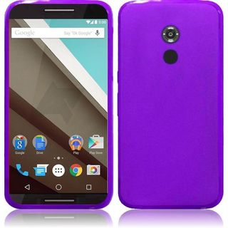 Insten Purple Frosted TPU Rubber Candy Skin Case Cover For Motorola Google Nexus 6