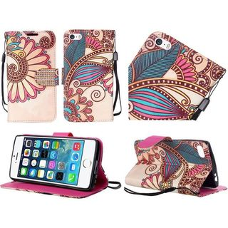 Insten Yellow Antique Flower Leather Case Cover Lanyard with Stand/ Diamond For Apple iPhone 5/ 5S/ SE