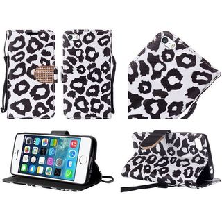 Insten Black/ White Leopard Leather Case Cover Lanyard with Stand/ Diamond For Apple iPhone 5/ 5S/ SE
