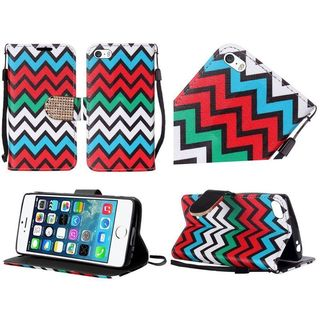 Insten Red/ Blue Chervon Leather Case Cover Lanyard with Stand/ Diamond For Apple iPhone 5/ 5S/ SE