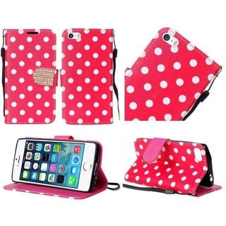 Insten Hot Pink/ White Polka Dots Leather Case Cover Lanyard with Stand/ Diamond For Apple iPhone 5/ 5S/ SE