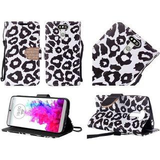 Insten Black/ White Leopard Leather Case Cover Lanyard with Stand/ Diamond For LG G5