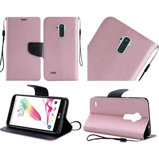 Insten Rose Gold Leather Case Cover Lanyard with Stand For LG Stylo 2
