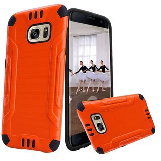Insten Orange Hard Snap-on Dual Layer Hybrid Case Cover For Samsung Galaxy S7 Edge