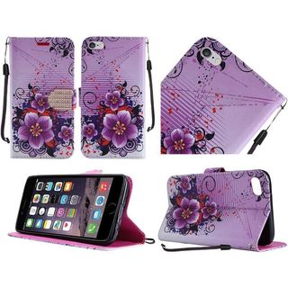 Insten Purple/ White Flowers Leather Case Cover Lanyard with Stand/ Diamond For Apple iPhone 6/ 6s