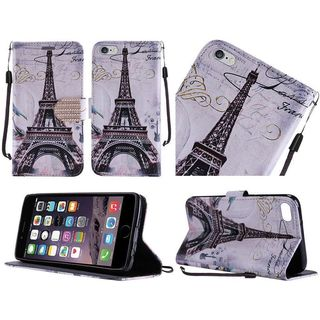 Insten Black/ White Paris Leather Case Cover Lanyard with Stand/ Diamond For Apple iPhone 6/ 6s