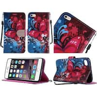 Insten Blue/ Hot Pink Butterfly Bliss Leather Case Cover Lanyard with Stand/ Diamond For Apple iPhone 6 Plus/ 6s Plus