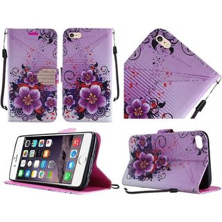Insten Purple/ White Flowers Leather Case Cover Lanyard with Stand/ Diamond For Apple iPhone 6 Plus/ 6s Plus
