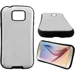 Insten White/ Black Hard PC/ Silicone Dual Layer Hybrid Rubberized Matte Case Cover For Samsung Galaxy S6
