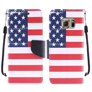 Insten Blue/ Red US National Flag Leather Case Cover Lanyard with Stand For Samsung Galaxy S7