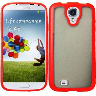 Insten Clear/ Red TPU Rubber Candy Skin Case Cover For Samsung Galaxy S4