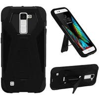 Insten Black Hard PC/ Silicone Dual Layer Hybrid Case Cover with Stand For LG K10