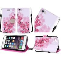 Insten Pink/ White Cherry Blossom Leather Case Cover Lanyard with Stand/ Diamond For Apple iPhone 6 Plus/ 6s Plus