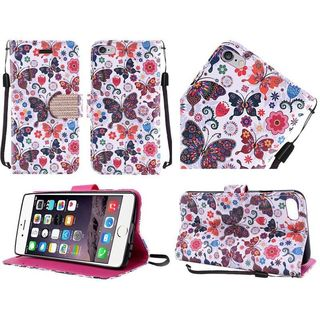 Insten Colorful Butterfly Leather Case Cover Lanyard with Stand/ Diamond For Apple iPhone 6 Plus/ 6s Plus