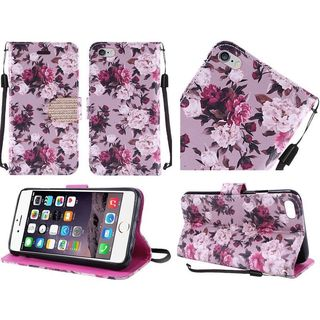 Insten Purple/ White Roses Leather Case Cover Lanyard with Stand/ Diamond For Apple iPhone 6 Plus/ 6s Plus