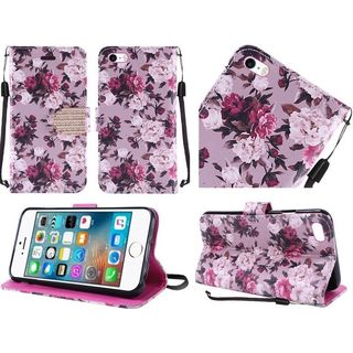 Insten Purple/ White Roses Leather Case Cover Lanyard with Stand/ Diamond For Apple iPhone 5/ 5S/ SE