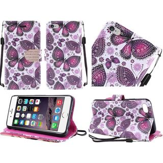 Insten Purple/ White Butterfly Leather Case Cover Lanyard with Stand/ Diamond For Apple iPhone 6 Plus/ 6s Plus